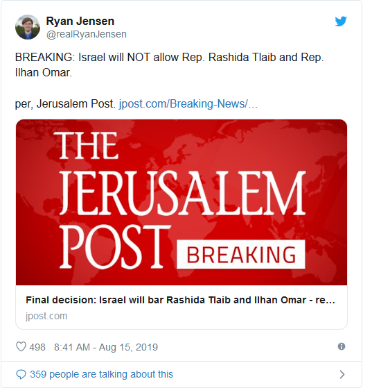 Screenshot_2019-08-15 Decision made Israel will bar Tlaib and Omar from visiting on Friday(2)