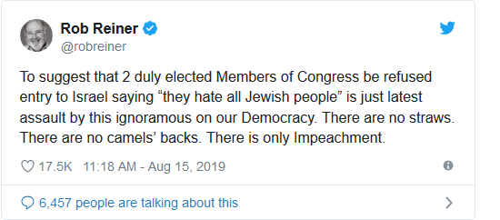 Screenshot_2019-08-15 Rob Reiner Says 'There Is Only Impeachment' After Israel Bans Ilhan Omar, Rashida Tlaib(1)