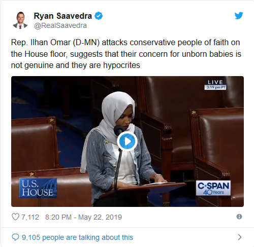 "Screenshot_2019-08-16 Ilhan Omar Attacks Pro-Life Christians ""Religious Fundamentalists"" ""Imposing Their Beliefs on Society""(1)"