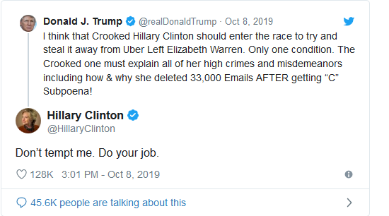 Screenshot_2019-10-09 Hillary Clinton Responds to Donald Trump's Suggestion for Her to Run in 2020 'Don't Tempt Me' - Big L[...](1)