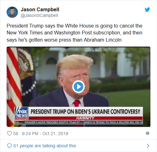 Screenshot_2019-10-22 It's About Time President Trump Tells Sean Hannity He Wants to Get Fake News WaPo and NY Times Out of[...]