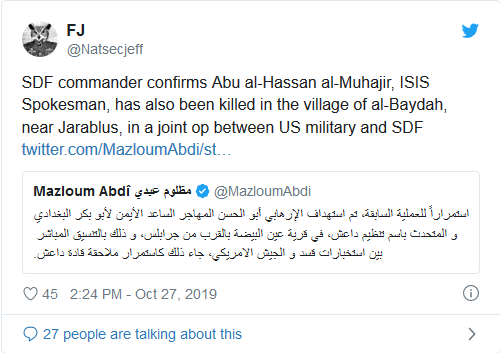 Screenshot_2019-10-27 SDF Confirms Abu al-Hassan al-Muhajir, ISIS Spokesman Also Killed In SDF US Operation
