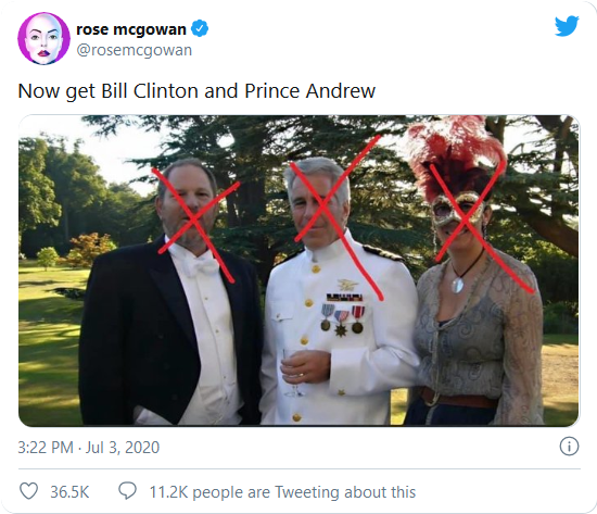 Screenshot_2020-07-31 Rose McGowan calls for arrests of Prince Andrew, Bill Clinton following Ghislaine Maxwell's FBI capture